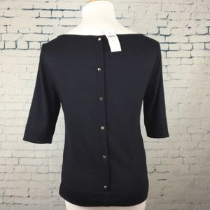 NWT Ann Taylor Knit Navy Button Back Top